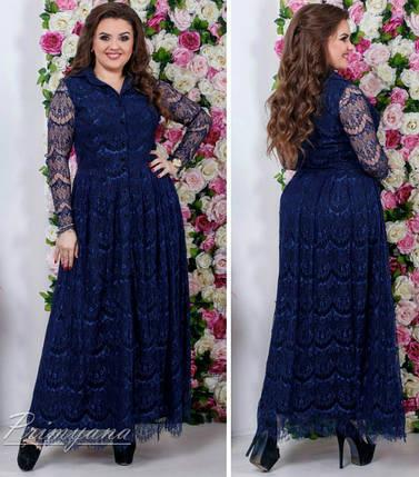 """Шикарное вечернее женское платье в пол """"кружево на подкладке ткань софт"""" 48, 52 размер батал, фото 2"""