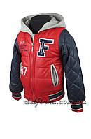 """Куртка для мальчиков """"18-11 F"""", на рост 104 до 128,  цвет синий с красным рукавом, фото 1"""