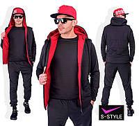 Мужской  черный спортивный костюм-тройка с капюшоном. 4 расцветки!