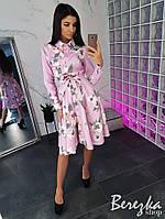 Женское платье-рубашка в цветочный принт