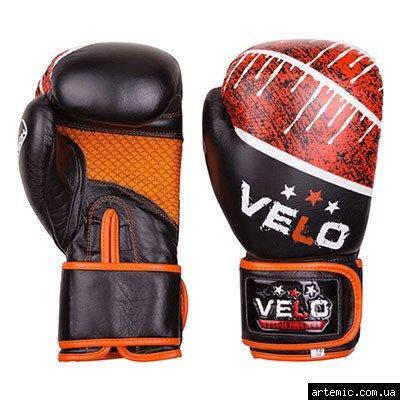 Боксерские перчатки Velo microfiber, кожа, 10oz,12oz, черно-оранжевый, фото 2