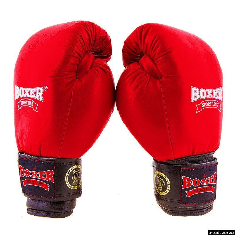 Боксерские перчатки Boxer Profi ФБУ, 10oz,12oz, красный