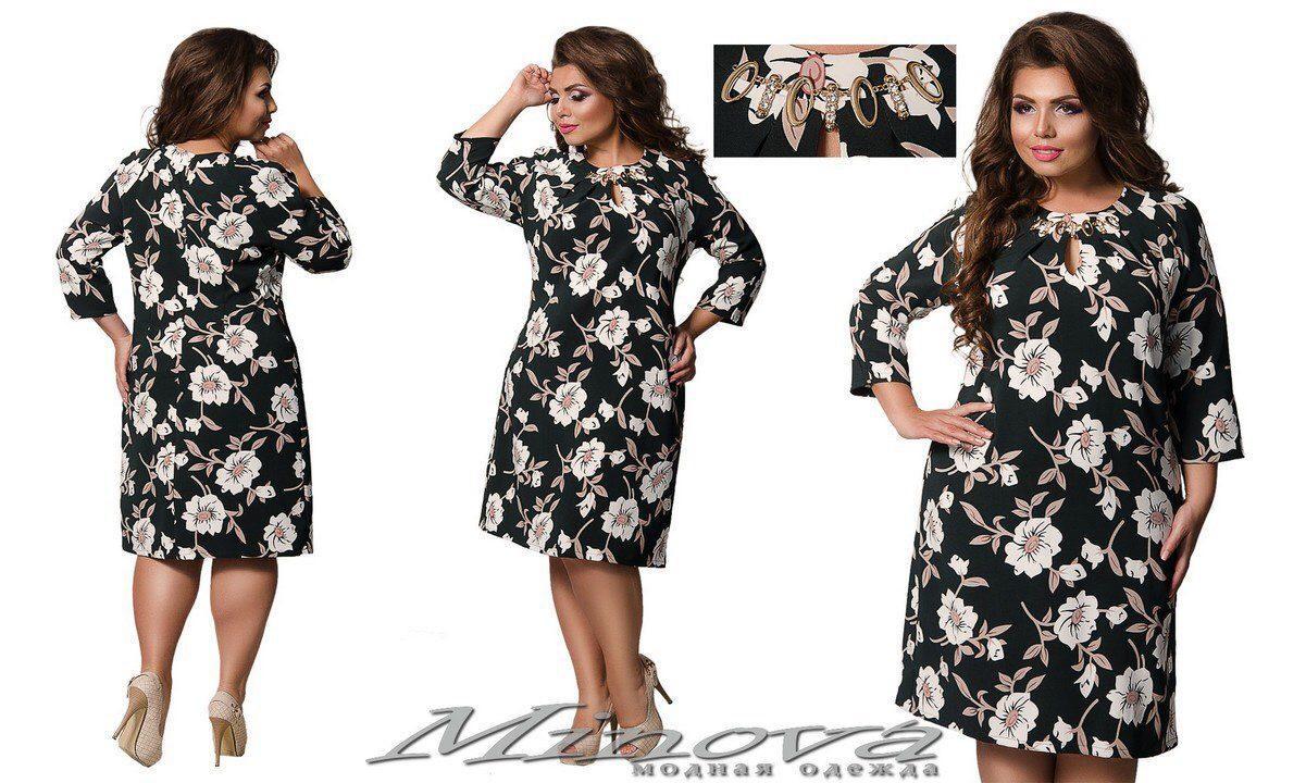 """Цветочное женское платье ткань """"Хлопок+стрейч(костюмная)"""" с украшением 50 размер батал"""