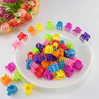 (95-100шт) Детские крабики для волос 13х15х17мм, Цвета - Микс