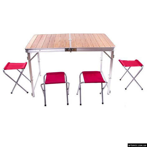 Стол туристический GreenCamp, бамбук,алюминий, 4 стула, GC-9001, фото 2