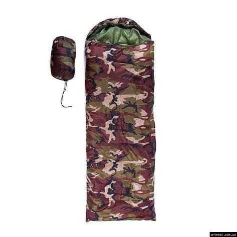 Спальник 250гр/м2, камуфляж коричневый, одеяло, (180+30)*75см, фото 2