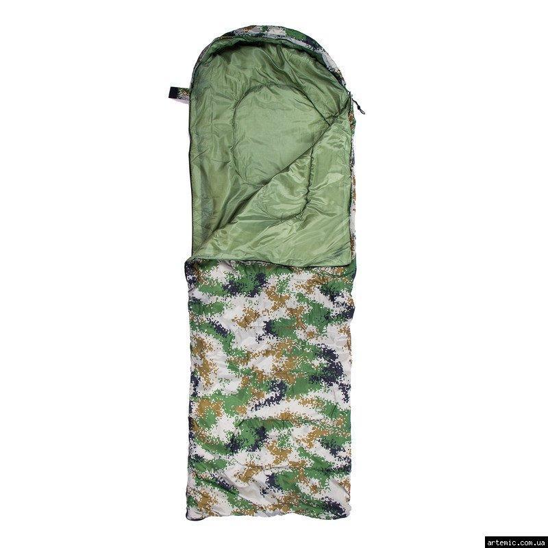 Спальник 250гр/м2, камуфляж зелёный одеяло, (180+30)*75см