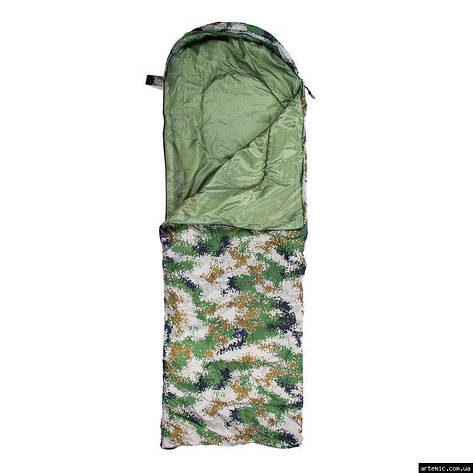 Спальник 250гр/м2, камуфляж зелёный одеяло, (180+30)*75см, фото 2