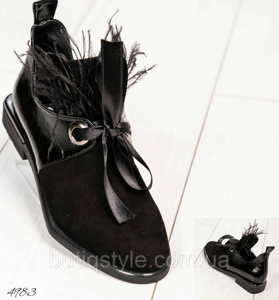 37, 40 размер Женские черные туфли с перьями натуральная замша/лаковая кожа 2019