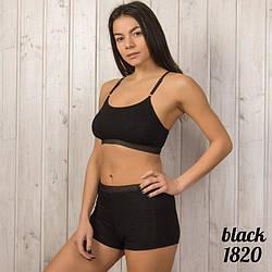 Комплекты нижнего белья женские оптом: топ и шорты 1820black