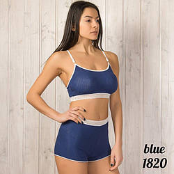 Бело-синий комплект белья женский: топ и шорты 1820d.blue
