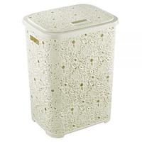 Пластиковая корзина для белья 67л  Ажурная Elif Бежевая