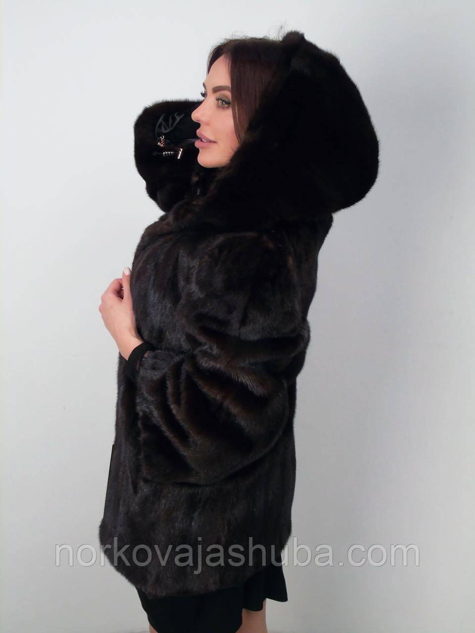 Красивая норковая шуба с капюшоном 48 50