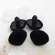 Носик для игрушек флок, 22*16 мм + крепление, черный