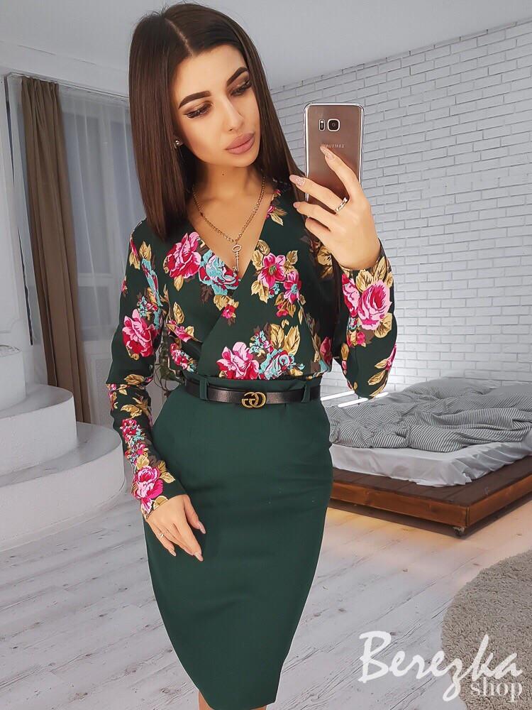 623672afc46 Женский костюм. Юбка и блузка с цветочным принтом - Интернет-магазин одежды