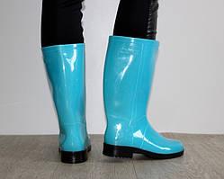 Неоновые голубые женские силиконовые сапоги