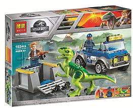 """Конструктор Bela 10919 """"Грузовик спасателей для перевозки Раптора"""" (аналог Lego Juniors 10757), 102 дет"""