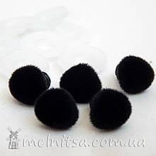 Носик для игрушек флок, 12*11 мм + крепление, черный