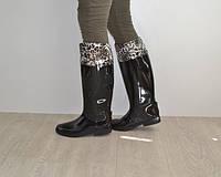 Резиновые женские сапоги черного цвета высокие 36-40