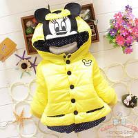 """Детская демисезонная куртка для девочки на 1 — 2 — 3 года """"Желтая Мышка Минни"""""""