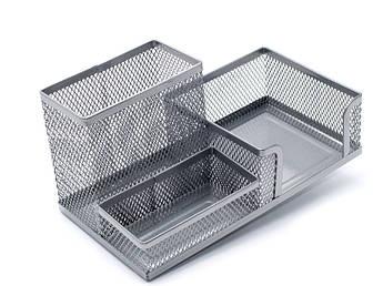 Подставка органайзер Axent, 203х105х100мм, металлическая, 3 отд, серебристая