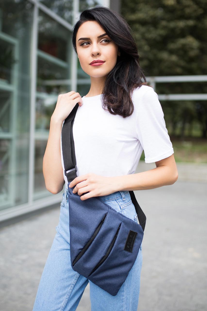 Синяя сумка-мессенджер SLIM