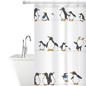 Тканевая штора для ванной комнаты Tatkraft 180 х 180 см Пингвины 18648, КОД: 166753