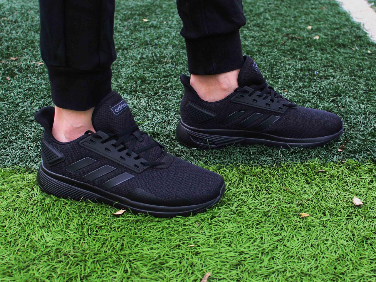 e8dc2c17661 Фирменные беговые мужские черные кроссовки Adidas Duramo 9 B96578 43 размер