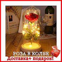 Подарок! Роза в колбе с подсветкой+бонус.  Роза в стеклянной колбе с LED подсветкой (светильник)