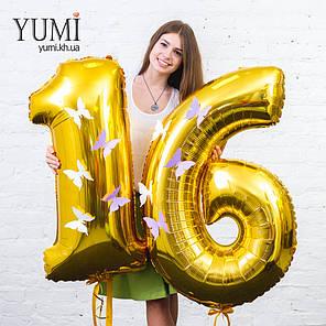 Фольгированные цифры 16 золотые с декором, фото 2