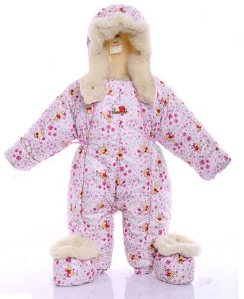 Детский комбинезон трансформер для новорожденных зимний (белый Винни Пух), фото 2
