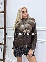 Куртка-косуха  с мехом куницы  44 размера, фото 1