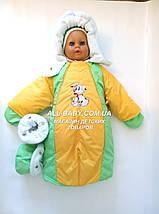 Детский комбинезон трансформер на флисе (зелёный с желтый), фото 2