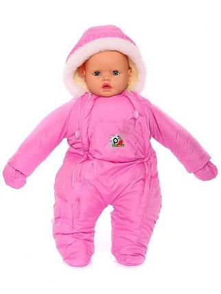 Зимний комбинезон для новорожденных (0-6 месяцев) розовый, фото 2