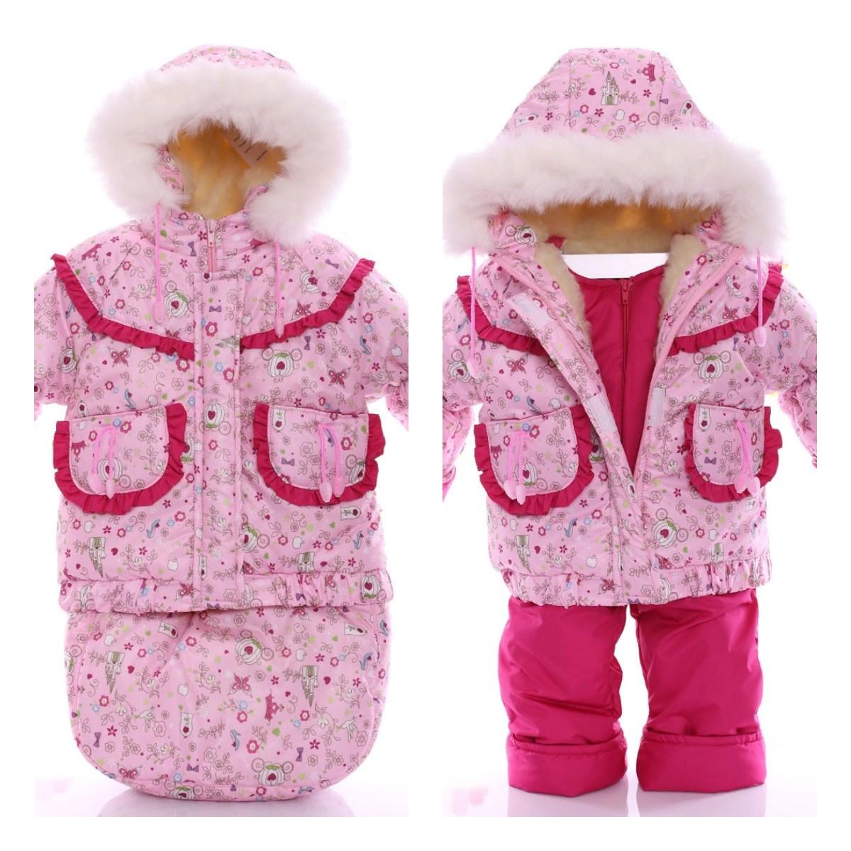 Детский костюм-тройка (конверт+курточка+полукомбинезон) Розовые принцессы