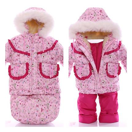 Детский костюм-тройка (конверт+курточка+полукомбинезон) Розовые принцессы, фото 2