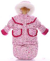 Детский костюм-тройка (конверт+курточка+полукомбинезон) Розовые принцессы, фото 3