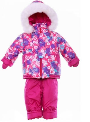 Детский зимний костюм на овчине-подстежке (от 6 до 18 месяцев) Малиновый в цветочек, фото 2