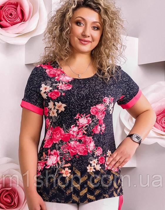 Женская короткая туника-футболка больших размеров (2278-2276 svt)