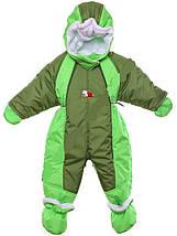 Детский комбинезон трансформер на флисе (Зеленый с хаки), фото 3
