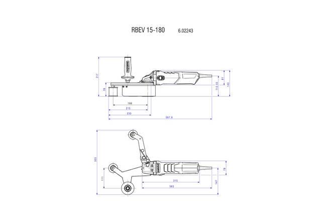 RBE 15-180 Set (набір) Шліфувальна машина для труб 1550Вт +набір аксесуарів, чемодан сталевий, фото 2