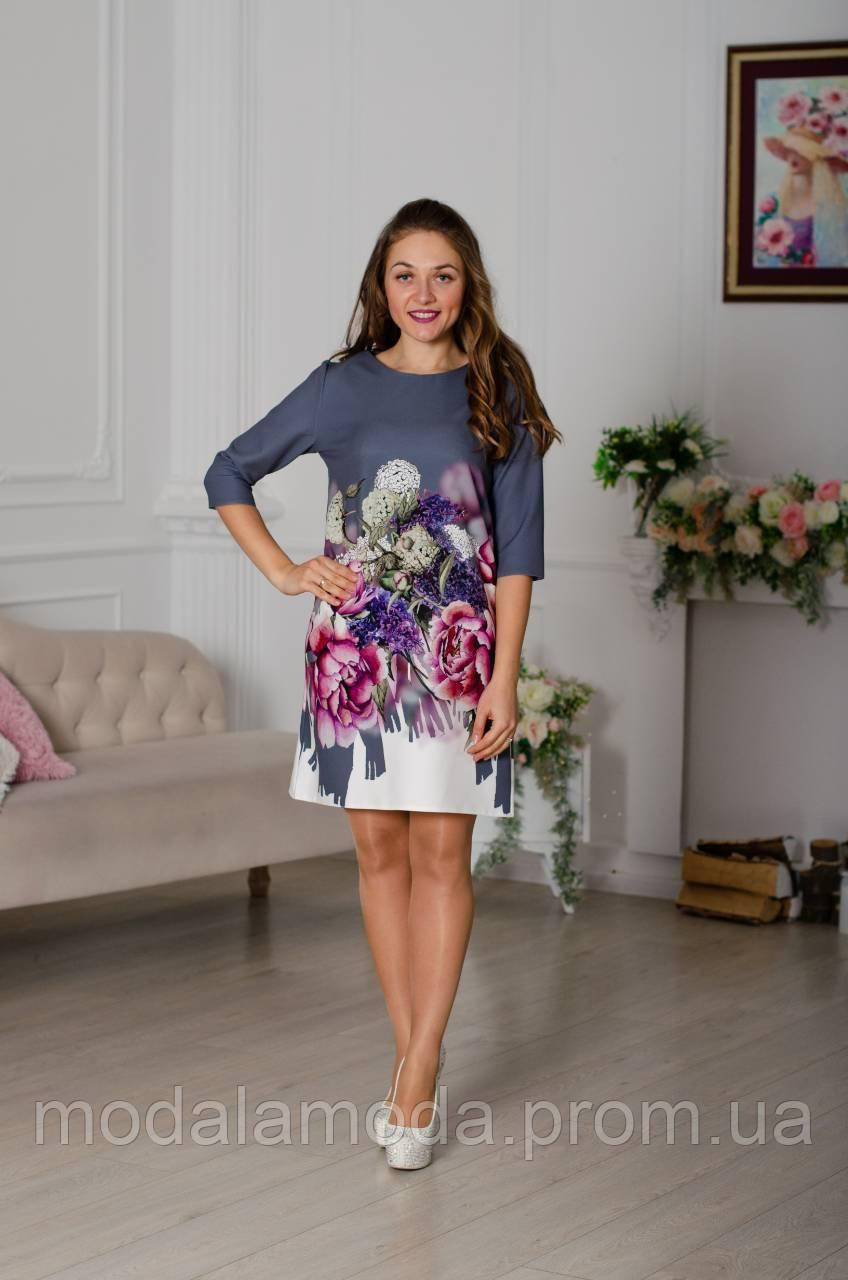 Платье женское со цветами большой размер