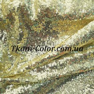 Ткань пайетка мелкая на сетке золото
