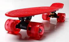 Penny Board. Red. Светящиеся красные колеса.