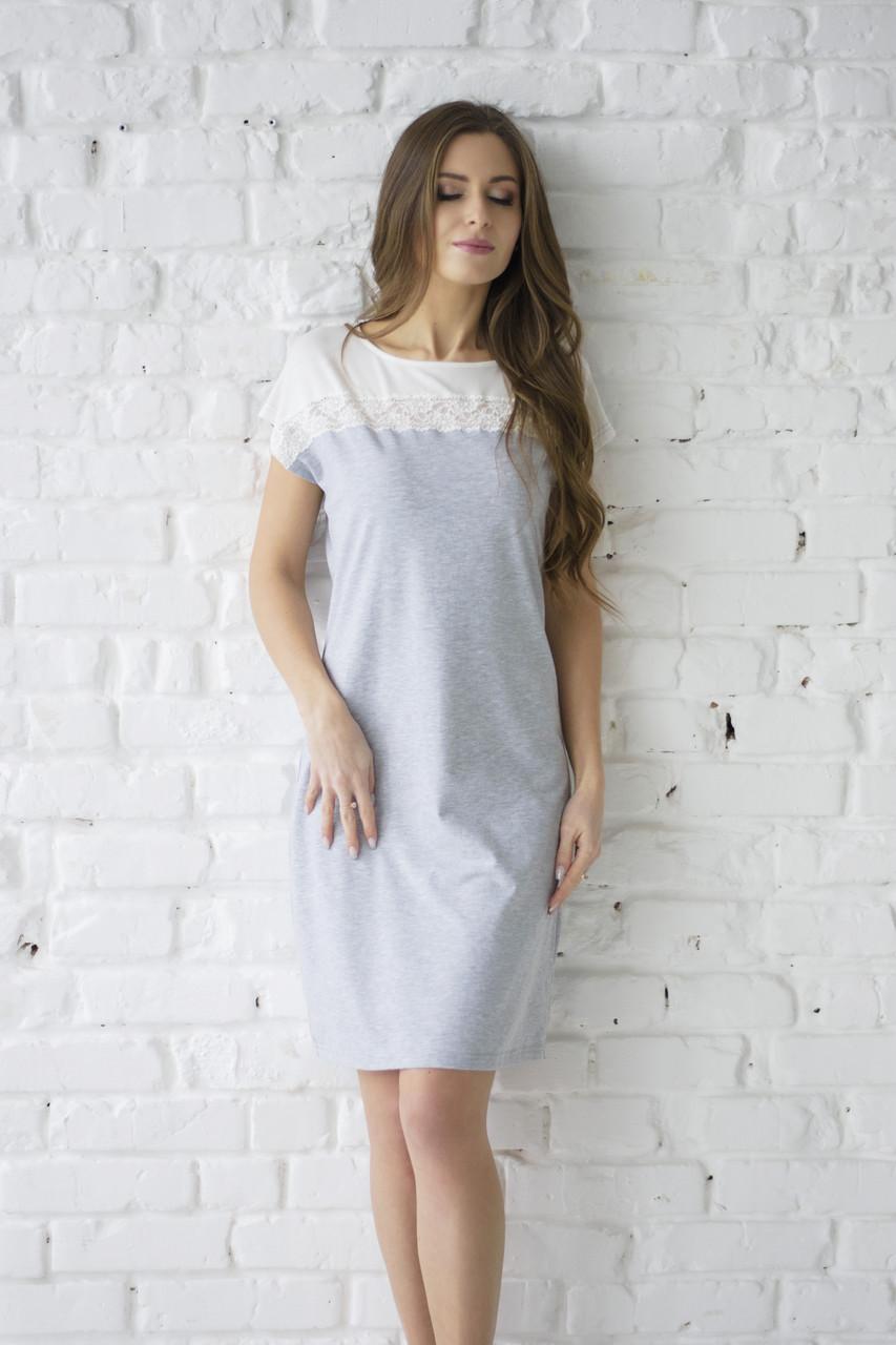 Сорочка из хлопка. Wiktoria 600 серый меланж