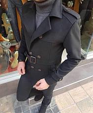 Мужское шерстяное (70%) демисезонное пальто с поясом 4 цвета в наличии, фото 2