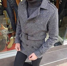 Мужское шерстяное (70%) демисезонное пальто с поясом 4 цвета в наличии, фото 3
