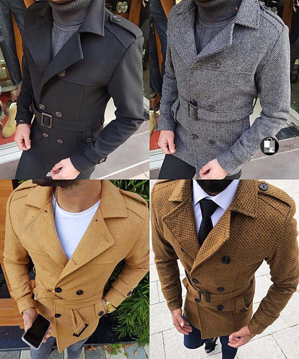 Мужское шерстяное (70%) демисезонное пальто с поясом 4 цвета в наличии