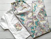 Женские пижамы со штанами Единороги 100% хлопок