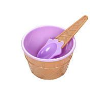 🔝 Мороженица с ложечкой Happy Ice Cream, креманка для мороженого, Фиолетовая, с доставкой по Украине   🎁%🚚